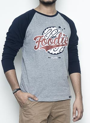 Foodie Full Sleeves Raglan | Men | Navy Grey