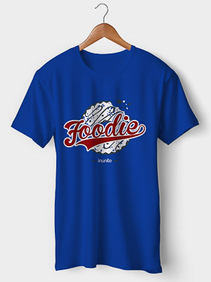 Foodie Half Sleeves Round Neck T-shirt | Men | Royal Blue